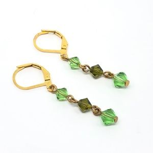 Vintage Gold & Mixed Green Crystal Earrings